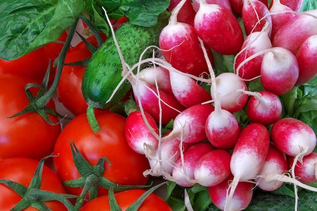 Nature morte avec tomates et autres légumes
