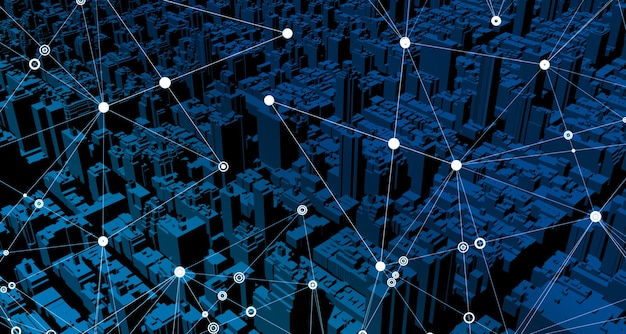 Navigateur gps simulé avec des cartes. bâtiments et structures