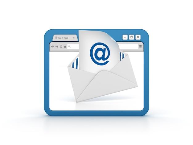 Navigateur internet avec enveloppe de courrier électronique