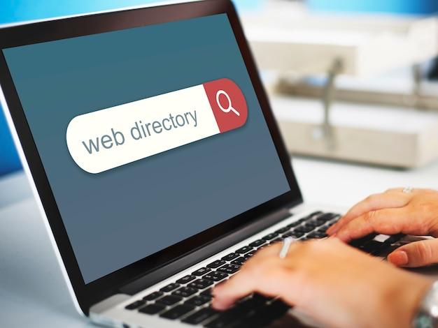 Navigateur de moteur de recherche d'annuaire web trouver le concept