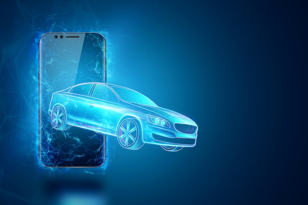 Navigation gps mobile, image holographique d'une voiture quittant l'écran du smartphone. rendu 3d, illustration 3d.