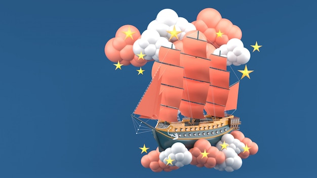Navire bleu aux voiles orange flottant dans les nuages et les étoiles sur le bleu. rendu 3d
