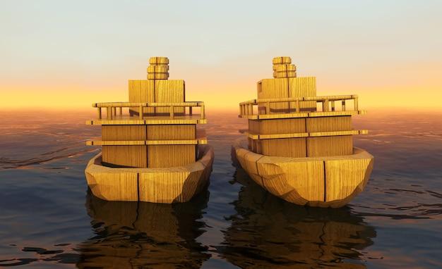 Navire dans le vaste océan avec de petites vagues obtient toutes les voiles remplies de rendu 3d de la brise marine