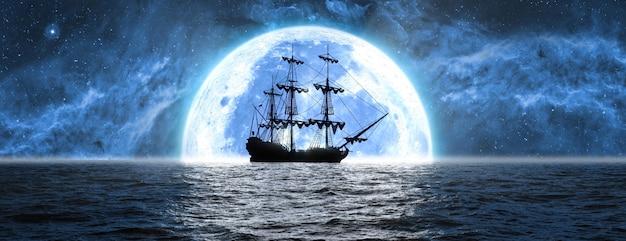 Navire en mer dans le contexte de la lune et du beau ciel, illustration 3d