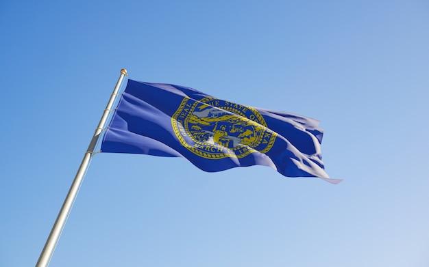 Nebraska us state flag low angle