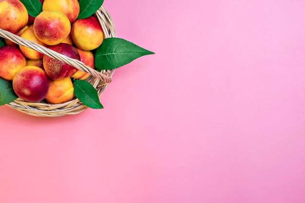 Des nectarines fraîchement récoltées se trouvent sur un fond rose vitamine végétale kératine naturelle