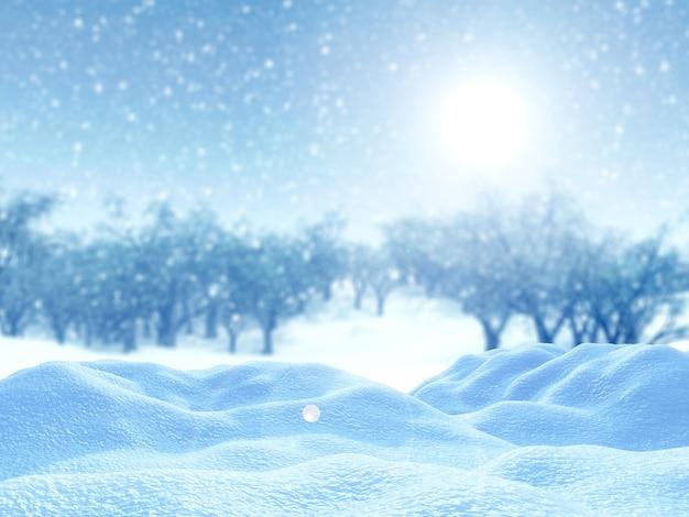 Neige 3d contre un paysage d'arbres enneigés