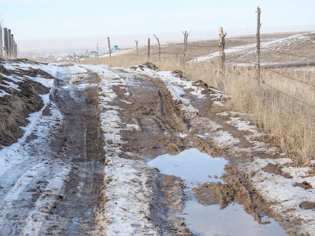 La neige fondante printanière, le chemin de terre, les flaques d'eau et la boue. neige fondu.