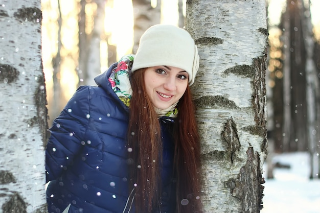 Neige hiver portrait femelle