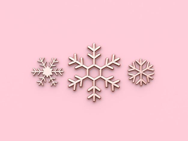 Neige icône plat métallique brillant rose or 3d rendu noël vacances nouvel an concept