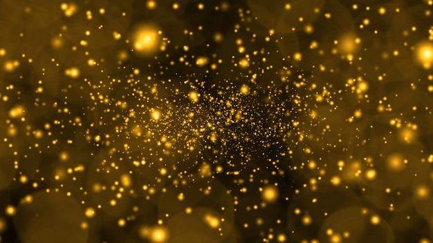 La neige et la poussière de glace en or profond tombent très lentement et s'estompent en hiver et clignotent en cadeau de luxe doré