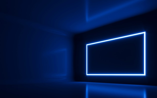 Néon abstrait dans la salle vide. rendu 3d
