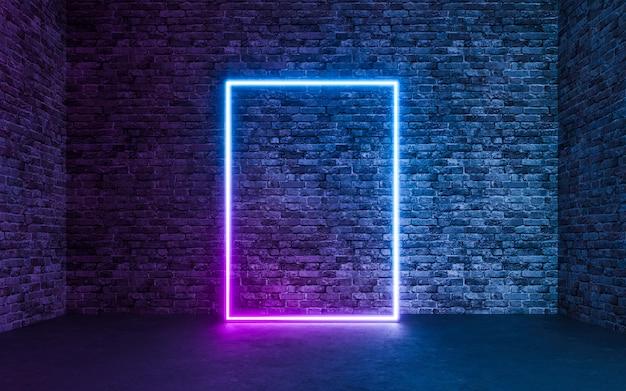 Néon abstrait avec fond de salle de briques en béton grunge vide. rendu 3d