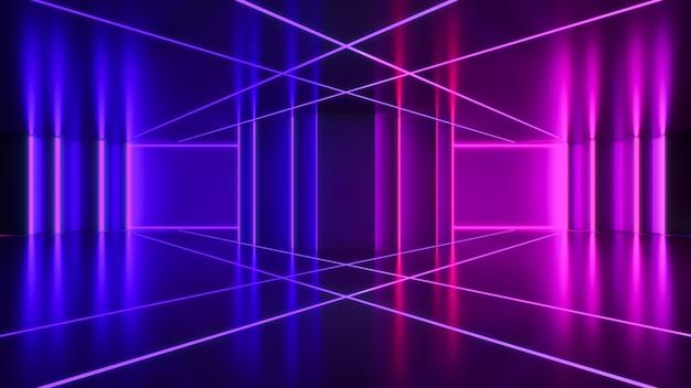 Néon, fond futuriste abstrait, concept ultraviolet, rendu 3d