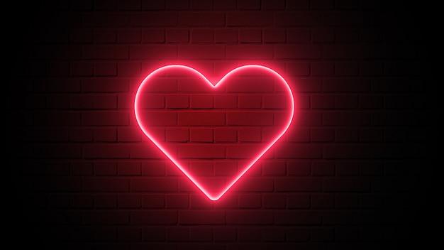 Néon en forme de coeur rouge sur fond de mur sombre. concept abstrait et décoration. élément de saint valentin heureux