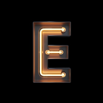 Neon light alphabet e