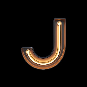Neon light alphabet j