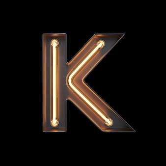 Neon light alphabet k