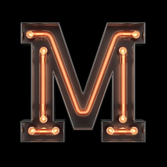 Neon light alphabet m