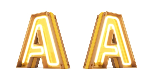 Neon light alphabet numérique rendu 3d sur fond blanc avec des chemins de détourage