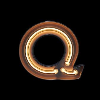 Neon light alphabet q