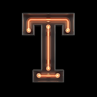Neon light alphabet t