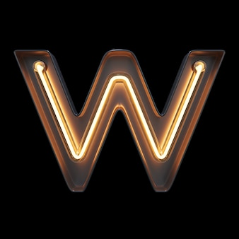 Neon light alphabet w