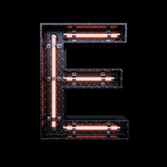 Neon light letter e avec des néons rouges.