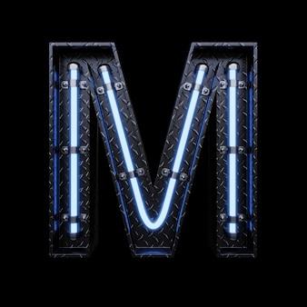 Neon light letter m avec néons bleus.