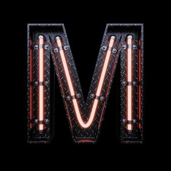 Neon light letter a avec des néons rouges.