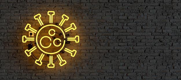 Néon avec logo covid illuminé sur mur de briques avec copyspace