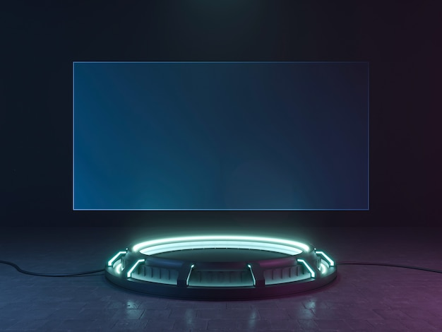 Néon de scène vide sci fi futuriste. rendu 3d