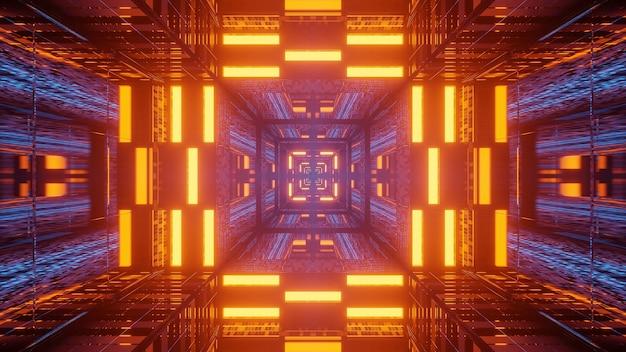 Néons de couloir tunnel futuriste