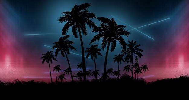 Néons avec fond de palmiers