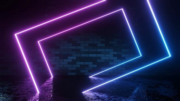 Néons futuristes modernes sur fond de salle de mur de briques sombres rendu 3d