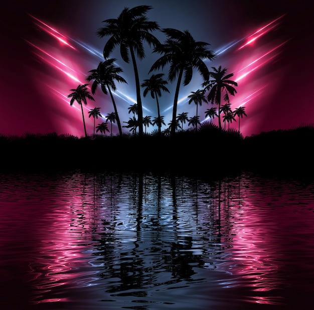Néons avec palmiers et reflet dans le fond de l'eau