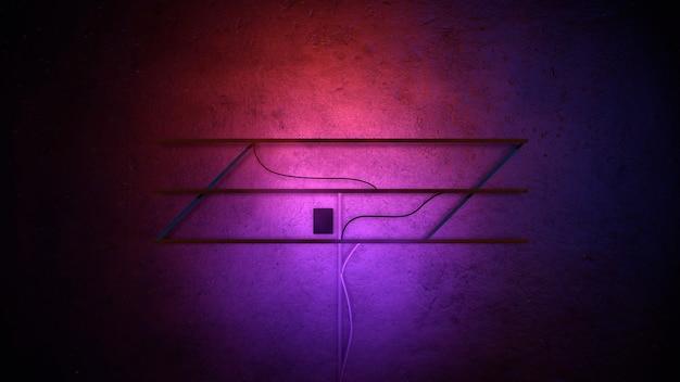 Néons violets brillants sur fond de mur dans le club. style d'illustration 3d moderne et futuriste pour le thème cyberpunk et cinématographique