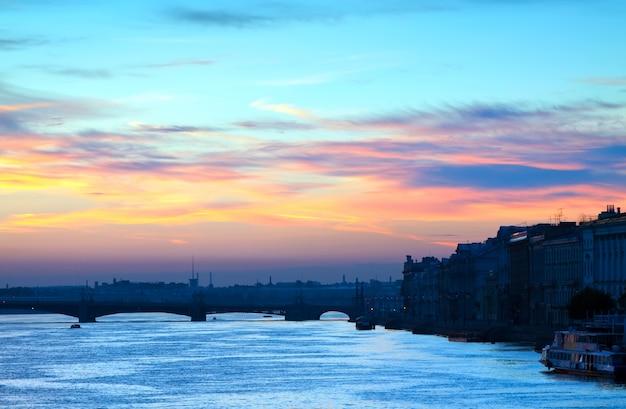 Neva river summer dawn