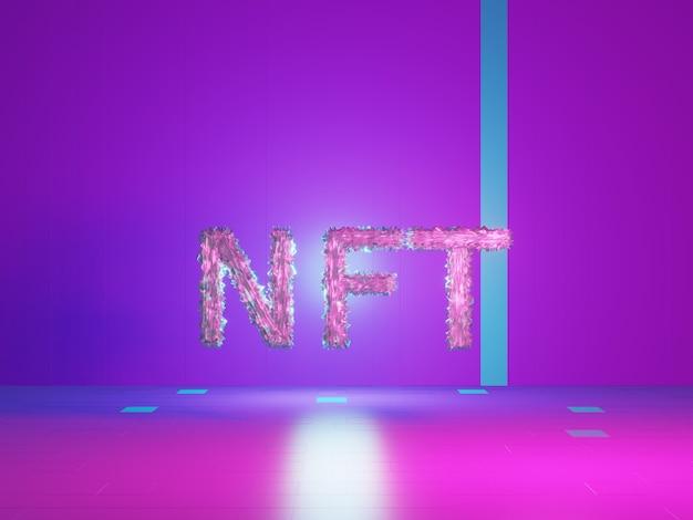 Nft, jeton non fongible, texte sur une salle violette tech. jeton non remboursable. rendu 3d.