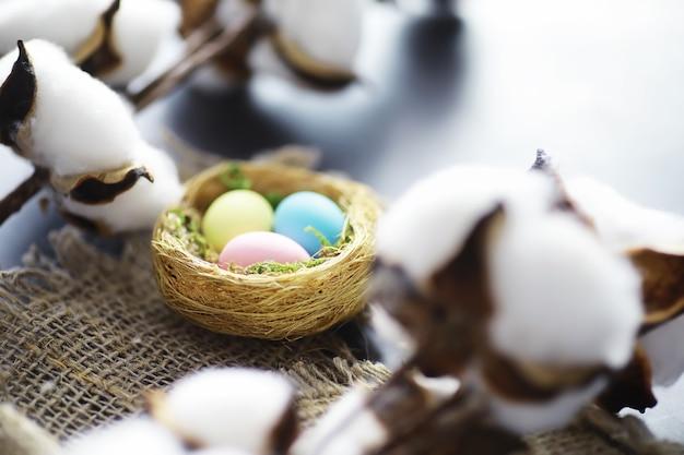 Nid d'oiseau avec des oeufs. branches de saule et premières verdures. fond de pâques. dimanche des rameaux. fête chrétienne. fond de printemps.