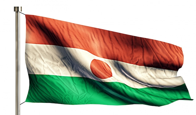 Niger national flag isolated 3d fond blanc