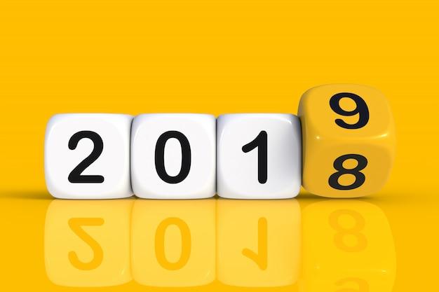 Noël et bonne année 2019 concept avec dés
