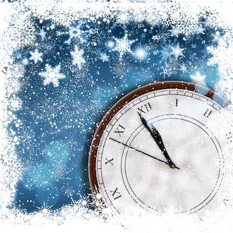 Noël et bonne année fond avec la frontière de flocon de neige et de l'horloge