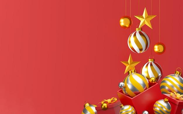 Noël et bonne année fond illustration 3d