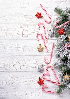 Noël avec des cannes de bonbon