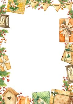 Noël gits brunch illustration aquarelle modèle vierge isolé
