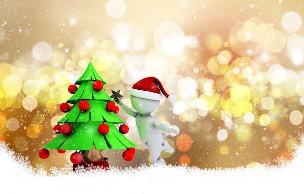 Noël avec l'homme 3d morph