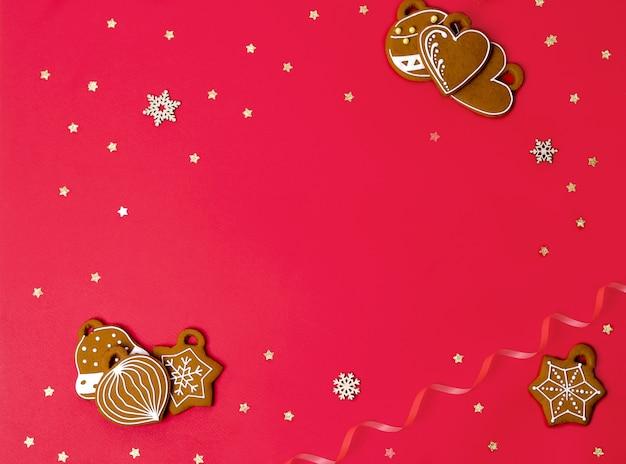 Noël jouets pain d'épice et ruban et étoiles