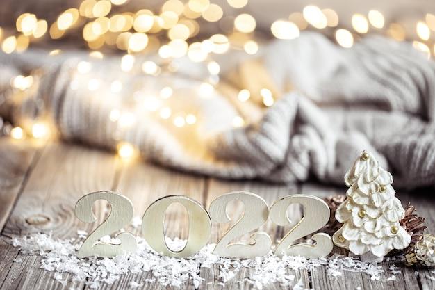 Noël nature morte avec nombre décoratif décor détails sur fond flou