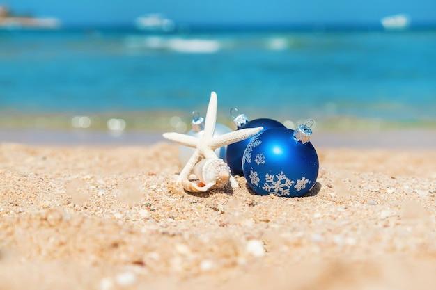 Noël sur la plage. voyages. mise au point sélective